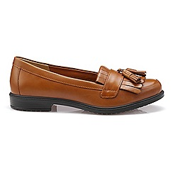 Hotter - Tan leather 'Hamlet' wide fit moccasins