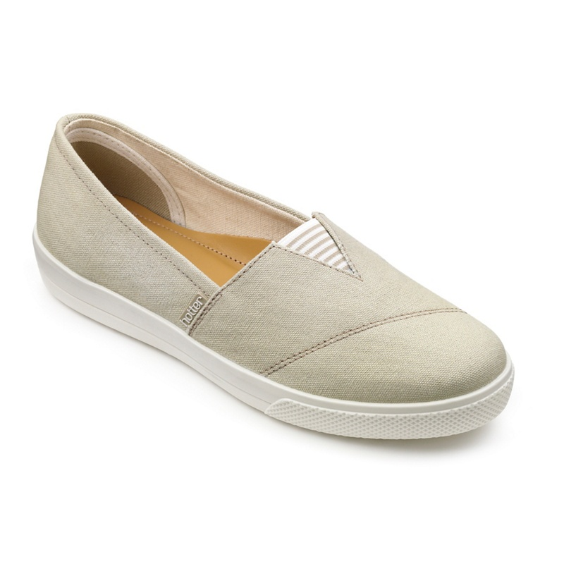 Hotter Pale grey canvas 'Laurel' pumps