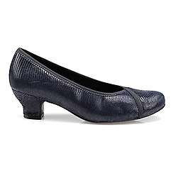 Hotter - Navy leather 'Monica' wide fit heeled shoes