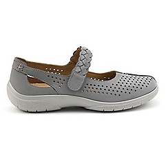 Hotter - Grey suede 'Quake' wide fit mary janes