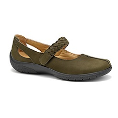 Hotter - Dark green nubuck leather 'Shake' wide fit Mary Janes
