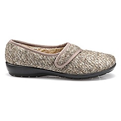 Hotter - Taupe 'Thyme' touch close slippers