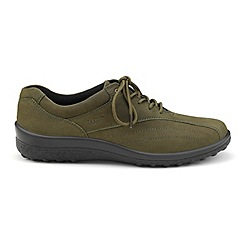 Hotter - Dak green 'Tone' wide fit lace-up shoes