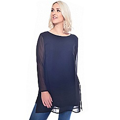 Grace - Black chiffon tunic top