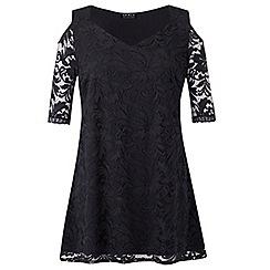 Grace - Black lace cold shoulder tunic dress