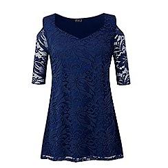 Grace - Navy lace cold shoulder tunic dress