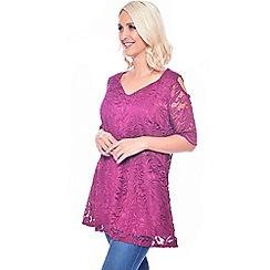 Grace - Pink lace cold shoulder tunic dress