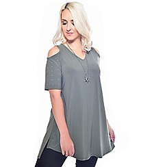 Grace - Olive tunic with necklace