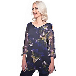 Grace - Multicoloured floral chiffon tunic top
