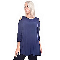 Grace - Navy cold shoulder tunic top