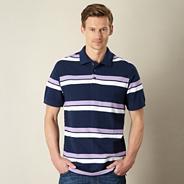 Big and tall lilac mirrored stripe pique polo shirt