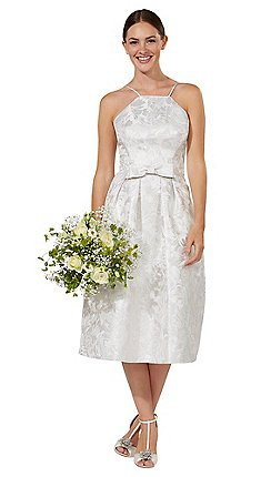 debut silver honor midi wedding dress
