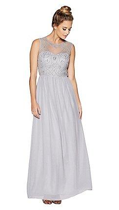 Quiz Grey Embellished Bodice High Neck Maxi Dress