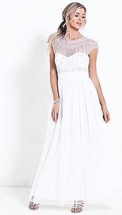 Wedding dresses debenhams sistaglam white kadie diamante embroidered wedding dress junglespirit Choice Image