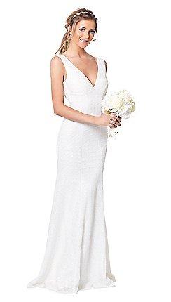 Sistaglam  - 白色'命運'蕾絲修身長連衣裙