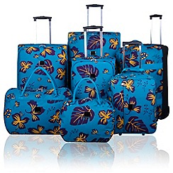 Tripp - Tripp Scattered Leaf Suitcase range in Turquoise/Grape