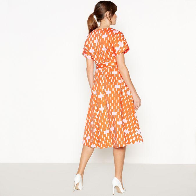 Multicoloured Weave Print Cotton Knee Length Wrap Dress by J By Jasper Conran