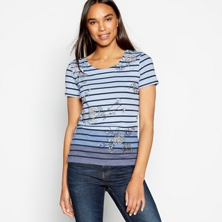 Pale Blue Stripe and Floral Print Cotton Blend Top