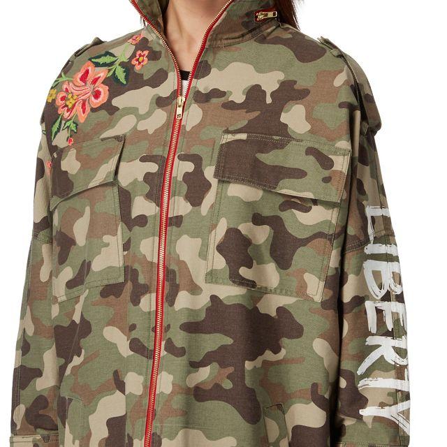 51fb29bd2 H! by Henry Holland Khaki camo embroidered jacket | Debenhams