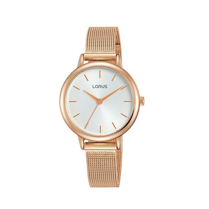 Ladies Rose Gold Analogue Mesh Bracelet Watch Rg246 Nx6 by Lorus