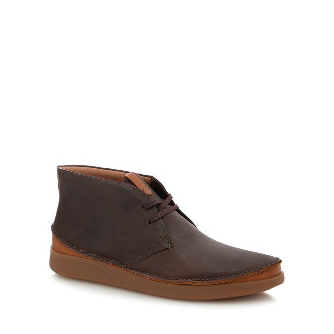 Clarks Dark Brown Leather Oakland Rise Chukka Boots Debenhams
