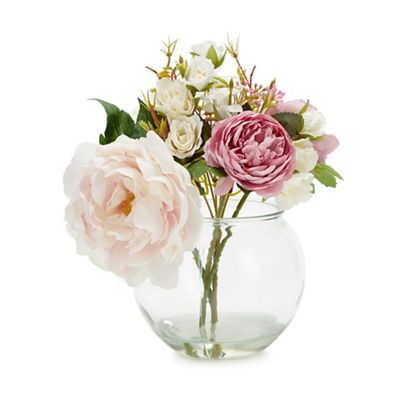 225 & Glass Fishbowl Vase with Mixed Artificial Flowers