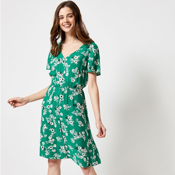 Green Button Ditsy Fit And Flare Dress by Dorothy Perkins