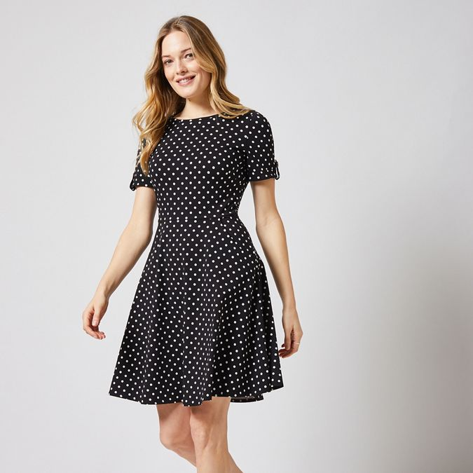 Black Spot Print Fit And Flare Dress by Dorothy Perkins