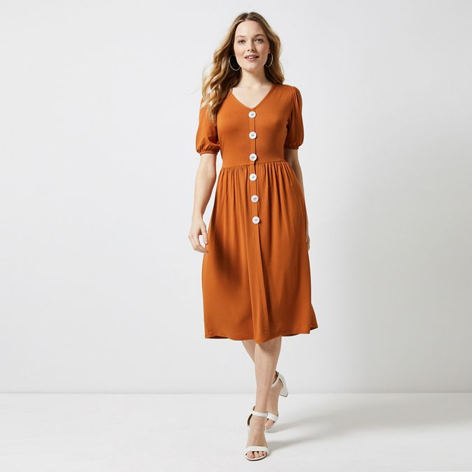 Rust Mother Pearl Button Midi Skater Dress by Dorothy Perkins