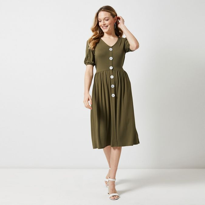 Khaki Mother Of Pearl Button Midi Skater Dress by Dorothy Perkins