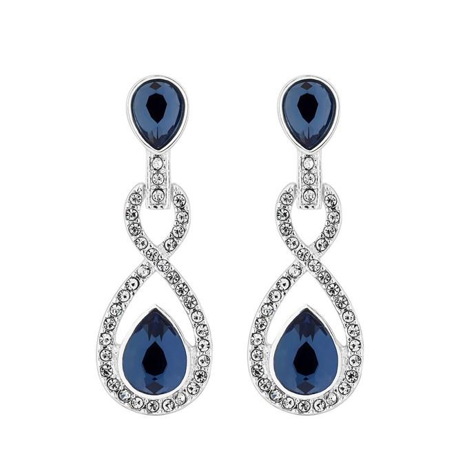 Silver Plated Blue Crystal Pave Montana Drop Earrings by Jon Richard