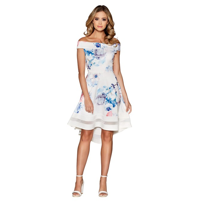 50b9849ccc55 Quiz - Cream blue and pink floral print bardot dip hem dress