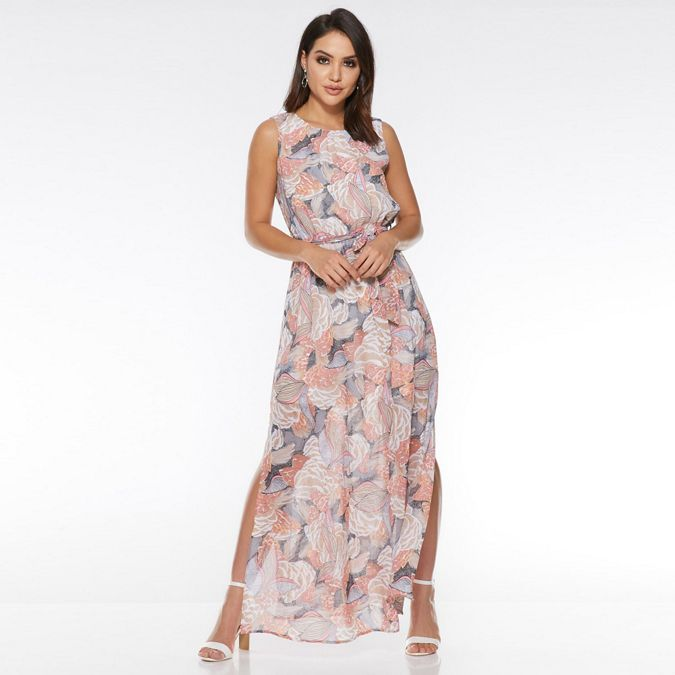 Nude Coral And Cream Abstract Print Maxi Dress by Quiz