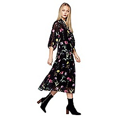 Studio by Preen - Black floral print midi dress