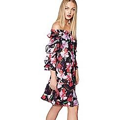 Studio by Preen - Multi-coloured floral print Bardot neck knee length dress