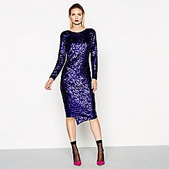 Studio by Preen - Purple sequin long sleeve midi length dress