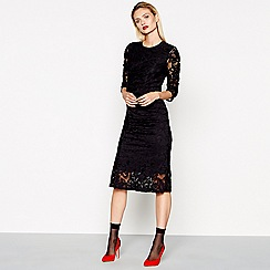 Studio by Preen - Black ruched lace midi dress