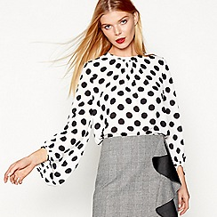 Studio by Preen - White balloon sleeves spot top