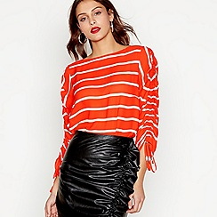 Studio by Preen - Ivory stripe ruched sleeves top