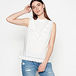 Studio by Preen - White broderie pure cotton high neck top