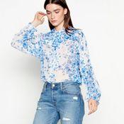 127d28b632 Studio by Preen - Pale blue floral print chiffon high neck long sleeve  blouse
