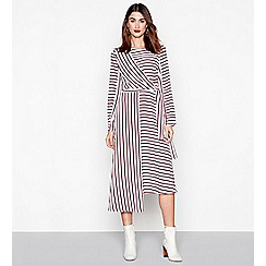 Studio by Preen - Multi-coloured stripe long sleeves midi tie dress