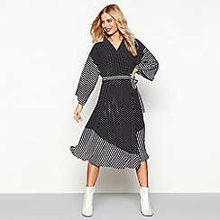 Studio by Preen - Black spot and stripe print midi wrap dress