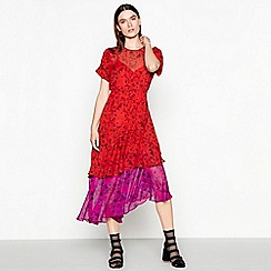 Studio by Preen - Red floral print round neck short sleeve high low dress