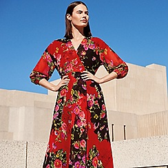 Studio by Preen - Red floral print chiffon V-neck long sleeve midi wrap dress
