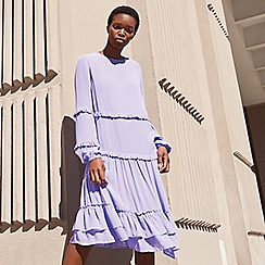 Studio by Preen - Lilac frill chiffon round neck long sleeve mini smock dress