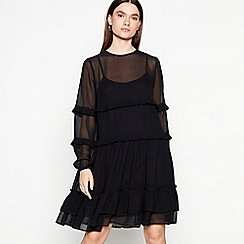 Studio by Preen - Black frill chiffon long sleeve mini dress