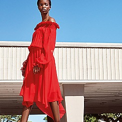 Studio by Preen - Red chiffon shirred bardot dress