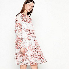 Studio by Preen - Red floral print chiffon long sleeve mini dress
