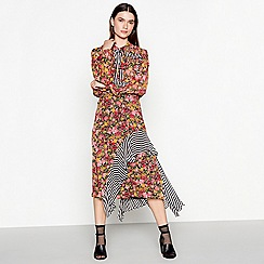 Studio by Preen - Multi-coloured floral stripe print chiffon midi skirt